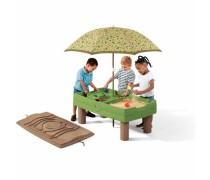 Smėlio ir vandens žalias stalas su skėčiu ir dangčiu | Step2 7878