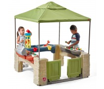 Žaidimų namelis su smėlio - vandens stalu ir griliu | All Around Playtime Patio with Canopy | Step2 8741