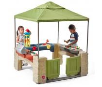 Vaikiška lauko terasa su smėlio - vandens stalu ir griliu | All Around Playtime Patio with Canopy | Step2