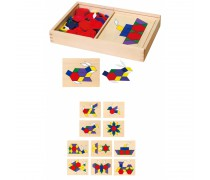 Geometrinių figūrų medinė dėlionė 148 vnt | Pattern Board And Block | Viga