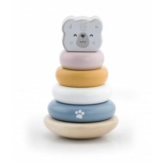 Linguojantis medinis žaislas piramidė meškiukas | Polar Bear | Viga 44005