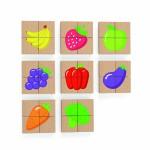 Magnetinė medinė dėlionė   Daržovės ir vaisiai   Viga 50700
