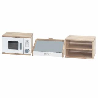 Medinė mikrobangų krosnelė, gartraukis ir lentynėlė 3in1 | Viga 50765