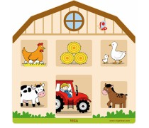 Medinė sieninė manipuliacinė lenta | Edukacinis ūkis ferma | Viga 51627
