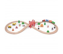 Vaikiška medinė traukinių trasa su priedais 39 vnt | Viga 50266