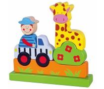 Medinės magnetinės statomos kaladėlės | Žirafa | Viga 59702