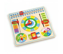 Mokomasis medinis kalendorius su laikrodžiu anglų kalba | Viga