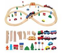Vaikiška medinė traukinių trasa su priedais 49 vnt | Viga 56304