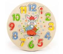 Vaikiškas medinis edukacinis laikrodis | Kiškutis | Viga