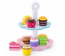 Žaislinis medinis serviravimo indas su 9 pyragėliais | Viga 50046