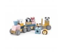 Žaislinis medinis traukinukas su žvėrialiais | Viga 44015
