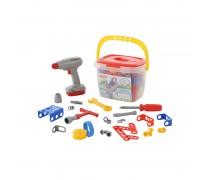 Vaikiškas įrankių rinkinys su konstravimo detalėmis 91 vnt dėžėje | Wader 58096