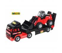 Žaislinis sunkvežimis-vilkikas 95 cm su ekskavatoriumi | Volvo Mammoet | Wader 567330