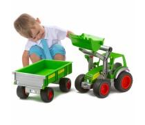 Žaislinis 56 cm traktorius - ekskavatorius su priekaba | Wader 8817