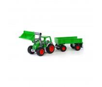 Žaislinis traktorius - ekskavatorius su priekaba | Wader 8817