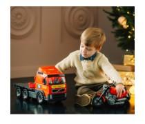Žaislinis vilkikas 45 cm su motociklu | Volvo Big Truck | Wader 58362