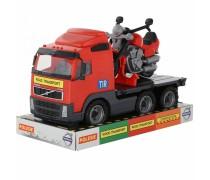 Žaislinė mašina - vilkikas 45 cm su motociklu | Volvo Truck | Wader 58362