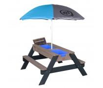 Medinis iškylos stalas su skėčiu ir vandens bei smėlio dėžėmis | Axi A031.004.05