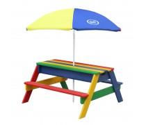 Medinis spalvotas iškylos stalas su skėčiu ir vandens bei smėlio dėžėmis   Axi A031.004.08