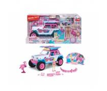 Keturratis 22 cm su flamingu ir priedais 20 vnt | Pink Drivez Flamingo Jeep | Dickie 3185000