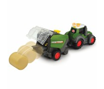 Žaislinis traktorius 30 cm su suspausto šieno ryšuliu | Happy Fendt | Dickie 3815001