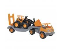 Vilkikas su traktoriumi 61,5 cm ir guminiais ratais | Mochtoys 10171_POM