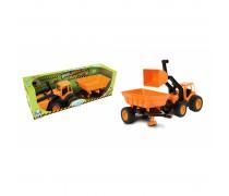 Traktorius - buldozeris su priekaba 55,5 cm ir guminiais ratais | Mochtoys 10173_POM
