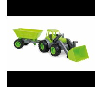 Traktorius - buldozeris su priekaba 55,5 cm ir guminiais ratais | Mochtoys 10173_ZIE