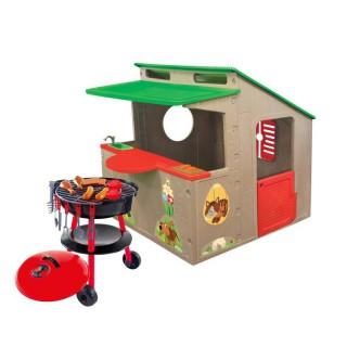 Žaidimų namelis su baru ir kriaukle + Kepsninė | Country Playhouse + Grill | Mochtoys 11392 /11021