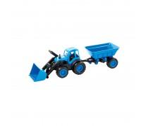 Traktorius - buldozeris su priekaba 55,5 cm ir guminiais ratais | Mochtoys 10173_NIE