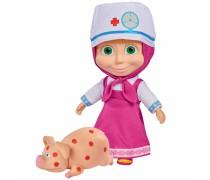Lėlė Maša gydytoja 23 cm su sergančiu paršeliu ir priedais | Maša ir lokys | Simba 9301081