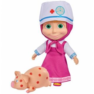 Lėlė Maša gydytoja 23 cm su sergančiu paršeliu ir priedais   Maša ir lokys   Simba 9301081