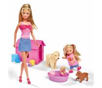 Lėlė Steffi ir Evi su šuniukais | Steffi | Simba 5732156_P