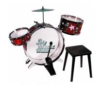 Mušamieji muzikos instrumentai - 3 būgnai, lėkštės su lazdelėmis ir kėdute | Simba 6839858