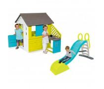 Žaidimų namelis su virtuvėlė ir priedais + čiuožykla 180 m | Pretty Play House and Kitchen | Smoby 810711/27548