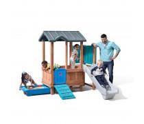 Medinė žaidimų aikštelė su čiuožykla ir smėlio dėže | Adventure Playhouse and Slide | Step2 4906KR