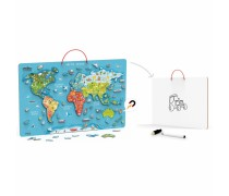 Edukacinė pakabinama lenta su magnetiniu pasaulio žemėlapiu ir priedais 106 vnt | Viga 44508