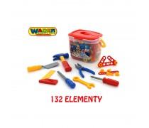 Vaikiškas įrankių rinkinys su konstravimo detalėmis 132 vnt dėžėje | Wader 47175