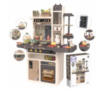 Didelė interaktyvi virtuvė su tekančiu vandeniu ir priedais 65 vnt. | Woopie 28699