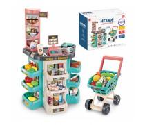 Žaislinė parduotuvė su vežimėliu ir priedais 47 vnt | Supermarketas | Woopie 28774