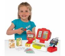 Vaikiškas raudonas elektroninis kasos aparatas su priedais 30 vnt. | Smoby 350111