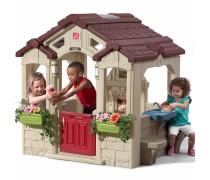 Žaidimų sodo namelis su virtuve ir suoliukais bei durų skambučiu | Charming Cottage | Step2 8674