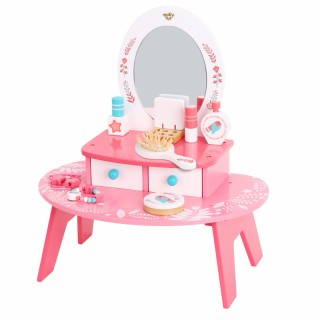 Medinis kosmetinis staliukas su veidrodžiu ir priedais   Tooky TL098A