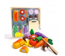 Medinės pjaustomos daržovės dėžutėje 20 vnt. | TookyTKI015