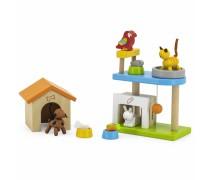 Mediniai gyvūnai su nameliais - šuniukas, kačiukas, triušiukas ir papūga | My Pets | Viga 44568