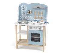 Medinė vaikiška mėlyna virtuvėlė su priedais | PolarB | Viga 44047