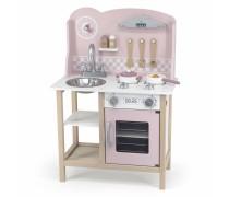 Medinė vaikiška rožinė virtuvėlė su priedais | PolarB | Viga 44046