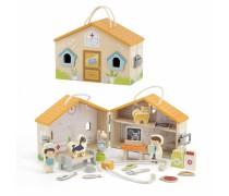 Medinė veterinarijos klinika - namas su figūrėlėmis | Viga 44558