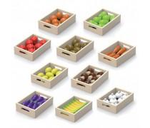 Medinis rinkinys - 10 dėžučių su 10 rūšių vaisiais ir daržovėmis | Viga 44523