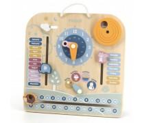 Medinis pakabinamas sieninis kalendorius su laikrodžiu | PolarB | Viga 50377